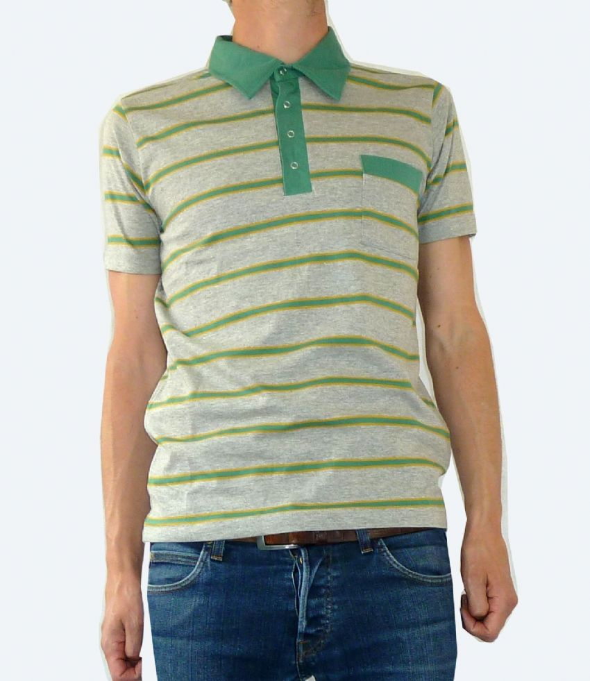 Striped Tee - Polo Button up T Shirt - Grey & Green